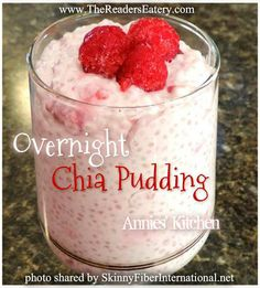 Overnight Chia Pudding Ingredients: 2 cup unsweetened almond/coconut milk beverage (used Almond Breeze). cup fresh blueberries, blackberries or raspberries cup chia seeds 2 Tbsp stevia (o. Thm Recipes, Pudding Recipes, Cooking Recipes, Healthy Recipes, Healthy Foods, Fit Foods, Flour Recipes, Drink Recipes, Healthy Skin