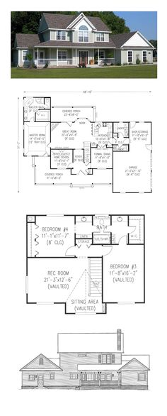 Farmhouse Style COOL House Plan ID: chp-5595 | Total Living Area: 2327 sq. ft…