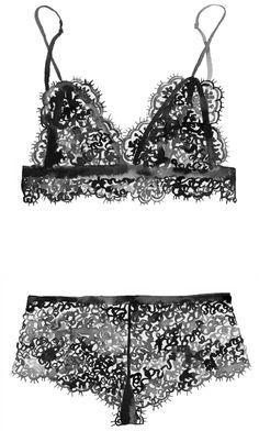 Hand painted watercolor illustration of black lace bralette lingerie set by Dena Cooper.