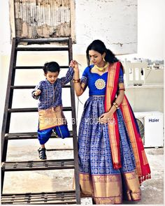 Dress made out of saree Long Dress made out of Saree I have already made a post to reuse and revive your old Kanjeevaram sarees in different ways. you can read the post Reu… Mother Son Matching Outfits, Mommy Daughter Dresses, Mom And Son Outfits, Mom And Baby Dresses, Mother Daughter Dresses Matching, Mother Daughter Fashion, Dresses Kids Girl, Family Outfits, Indian Dresses For Kids