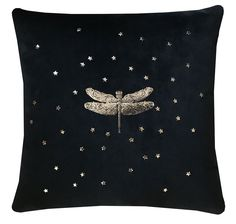Black Cushion with Dragon Fly. Black Cushions, Scatter Cushions, Black Velvet Fabric, Light And Shadow, Dragon, Sparkle, Luxury, Silver, Money