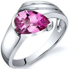 Amazon.com: Contemporary Pear Shape 1.75 carats Pink Sapphire Ring in Sterling Silver Rhodium Finish Available in Sizes 5 thru 9: Peora: Jewelry