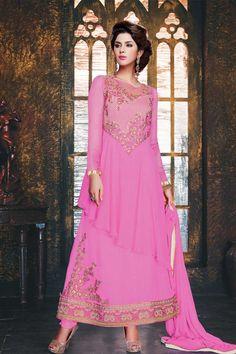 Pink Georgette and Net, semi stictch anarkali churidar suit. Round neck, Below knee length, full sleeves kameez. Light pink, santoon churidar. Light pink, chiffon dupatta with lace border with work. http://www.andaazfashion.com/salwar-kameez/churidar-suits/occasion/party-wear-churidar-suits