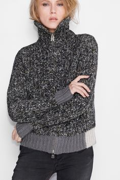 Zadig et Voltaire zipped cardigan, 19% wool, 9% wool Mohair, 51%polyacrylic , 20% polyamide, 1% polyester. Made in Italy. Fashion show fall-winter 15/16 collection.