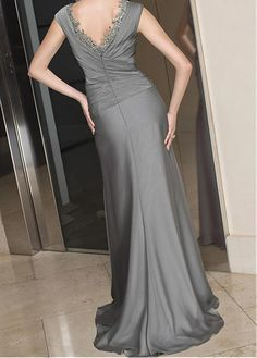 Buy discount Elegant Floor length v-neck Satin Chiffon Mother of the Bride Dress in Fashion Design at Dressilyme.com