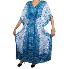 Mogulinterior Womens Kaftan Dress Blue Elephant Printed Resort Wear Caftan Maxi Dresses Caftan Dress, Boho Dress, Kimono, Blue Dresses, Summer Dresses, Maxi Dresses, Long Kaftan, Boho Girl, Haute Hippie