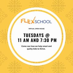 Please join us for a virtual Open House!  Our building is currently closed, but we still want to meet you.  Please sign up for one of our open house tours to hear how we help gifted and 2e students to thrive.   FlexSchool is a private middle and high school that specializes in motivating and supporting gifted and twice-exceptional (2e) students.   When? Tuesdays at 11 am and 7:30 pm. Twice Exceptional, Open House, House Tours, High School, Students, Middle, Join, Meet, Motivation