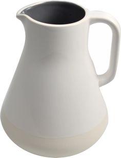 Ceramic jug, half glossy glaze, half matte glaze.  Keramisch kan, half glazend, half mat. Made for Friesland Campina, design by Robert Bronwasser