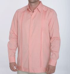 Need attire for a destination wedding?   Shop by color for guayabera and wedding shirts at Debra Torres   Salmon Pink Destination Wedding Shirt