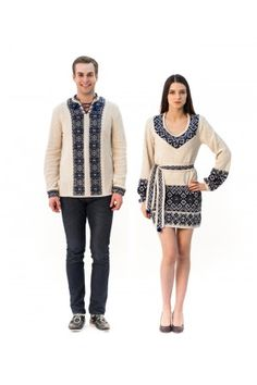 Сімейний комплект «Слобода» складається з жіночої в'язаної туніки та чоловічої в'язаної вишиванки, з сіро-блакитним орнаментом. Sweaters, Style, Fashion, Tunic, Swag, Moda, Fashion Styles, Sweater, Fashion Illustrations