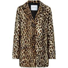 Velvet Celine Faux Fur Leopard Print Coat, Saharan (515 BAM) ❤ liked on Polyvore featuring outerwear, coats, brown coat, imitation fur coats, leopard coat, brown faux fur coat and print coat
