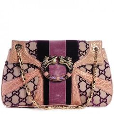6b90457b6bcd This is an authentic GUCCI Monogram Tom Ford Crocodile Jeweled Dragon Flap  Bag in Purple.
