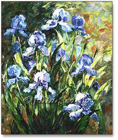 painting acrylic flowers | Oil Painting Of Blue Iris Flowers