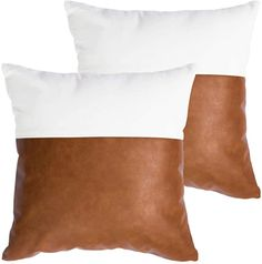 Amazon.com: HOMFINER Faux Leather and 100% Cotton Decorative Throw Pillow Covers for Couch Bed Sofa, 18 x 18 inch Set of 2 Modern Home Decor Accent Square Bedroom Living Room Cushion Cases Cognac Brown White: Home & Kitchen