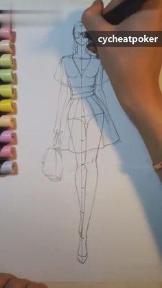Fashion Illustration Tutorial, Fashion Drawing Tutorial, Fashion Figure Drawing, Fashion Drawing Dresses, Illustration Mode, Fashion Illustration Dresses, Illustration Techniques, Fashion Dresses, Drawing Fashion