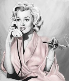 In The Pink by [Marilyn Monroe digital painting] Artist: ~TheTanyaDoll on deviantART | This image first pinned to Marilyn Monroe Art board, here: http://pinterest.com/fairbanksgrafix/marilyn-monroe-art/ || #Art #MarilynMonroe