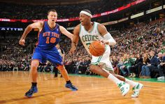 Paul Pierce drives to the hoop for 2 of his 34 points (7 rebounds, 3 assist, 2 steals, 1 block) during today's 115-111 Boston Celtics overtime win against the Knicks.