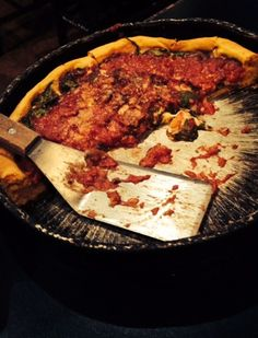 Gino's East deep dish Chicago-style pizza with mushroom and spinach-- so delicious. #mywatergallery