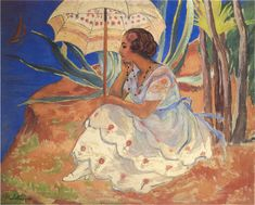The Athenaeum - Young woman with Umbrella at St Maxime (Henri Lebasque - )1918