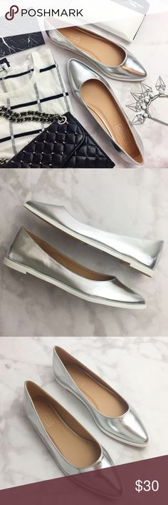 Topshop Metallic Silver Pointed Toe Flats Details: * Size 8.5 * Silver faux leather * White soles * New with tag on the sole, no box 12131606 Topshop Shoes Flats & Loafers
