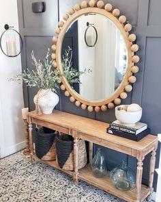 Entryway Decor, Entryway Tables, Wall Decor, Entryway Mirror, Farmhouse Homes, Farmhouse Decor, Home Living Room, Living Room Decor, Cozy House