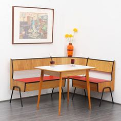 sofas 50er Eckbank, rot, Holz/ Metall (Nr. 4372) Karlsruhe Velvet-Point