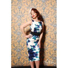 SELL Amelia dress in blue violet floral XS, nwt $60 - Pinup Girl Style