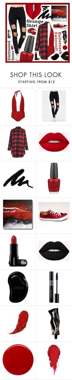 """Red & Black Grunge Relaxed"" by beanpod ❤ liked on Polyvore featuring OPI, Tangle Teezer, Christian Dior, Aesop and Margaret Dabbs"