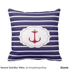 Nautical  Dark Blue  White Stripes Red Anchor