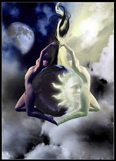 """The alchemical operation consisted essentially in separating the prima materia, the so-called chaos, into the active principle, the soul, and the passive principle, the body, which were then reunited in personified form in the coniunctio or 'chymical marriage'... the ritual cohabitation of Sol and Luna.""""  - Carl Jung  art source google images"""
