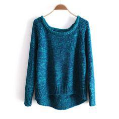 Blue Long Sleeve Asymmetrical Pullovers Sweater