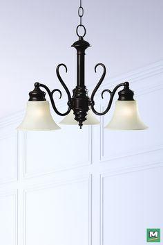 Hunter Lighting® Wildwood Chandelier with Oil- Rubbed Bronze Finish and White Scavo Glass.