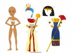 The Egyptian lady in this free, printable paper doll comes with two headdresses and two royal outfits. Free to download and print
