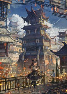 1UPクリエイターセレクションvol.129 - nocras | いちあっぷ Fantasy World, Fantasy Art, Illustrations, Illustration Art, Anime City, Cyberpunk Art, Fan Art, Anime Scenery, Fantasy Landscape