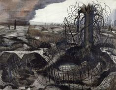 'Wire' by Paul Nash (1918). We assume that it is winter from the degraded palette, but it could just be the winter of the soul – war allows no other season than that of desolation. There is a long tradition in Western landscape art of decaying tree stumps as symbols of destroyed civilisations. In sixteenth and seventeenth-century landscapes such signs of decay signify renewal, but in this modern work about the horrors of war, rebirth has been suspended.