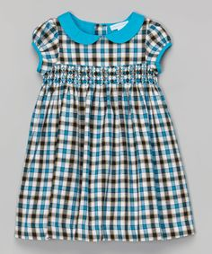 La Fleur & Le Papillon Turquoise & Black Plaid Smocked Babydoll Dress - Toddler & Girls | zulily