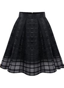 Black Zipper Plaid Pleated Chiffon Skirt US$19.25