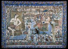 Qajar tile with Khosrow and Shirin by Master Hassan  Iran, dated AH 1300 (AD 1882)  this tile is moulded and finely painted with a scene from Shirin and Khosrow. Shirin is partially unclothed and washing her flowing long hair, closely watched by her old chaperone who is shielding her beauty from Khosrow by holding up a towel. This tile is signed in a boteh by the maker: Master Hassan, pottery maker and dated AH 1300.  51x39.8cm