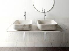 Lavatório de apoio quadrado de mármore BOWL N°3 by Kreoo design Enzo Berti