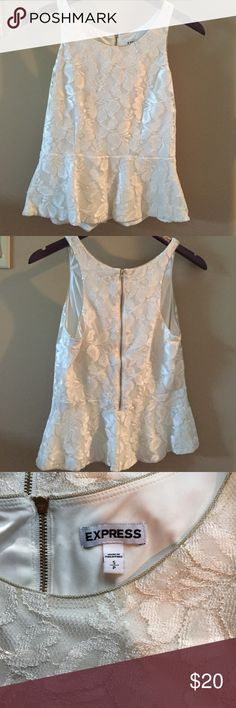 Express Cream Peplum Lace Top Cream lace peplum top from Express. Worn a few times, in great condition. Express Tops Tank Tops