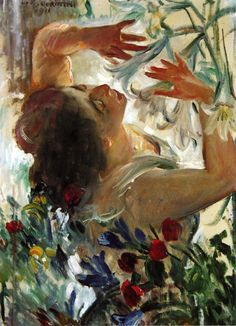 Woman with Lilies in the green House By LOVIS CORINTH