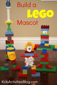"create lego mascots - my kids would love this!  They are constantly making ""people"" or animals out of legos."