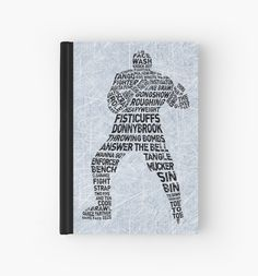 """Typographic Hockey Enforcer "" Hardcover Journals by gamefacegear. Quality hardback 128 page journal. Check out: http://www.redbubble.com/people/gamefacegear/ for many more! #Journals #Notebooks #Redbubble #Goon #Calligram"