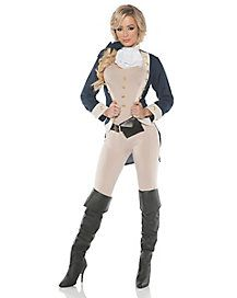 Represent the beginning of the red, white and blue with this Americana costume! This fashionable bodysuit comes equipped with a jacket, belt and attached belt that will have you looking like the woman version of the founding fathers instantly! Sexy Halloween Costumes, Pet Costumes, Halloween Kostüm, Adult Costumes, Costumes For Women, Costume Ideas, Female Costumes, Celebrity Costumes, George Washington Costume