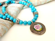Necklace turquoise witch polymer clay cabochon by jewelryfimo, $57.00