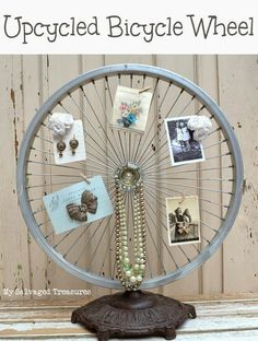 How to repurpose an old bicycle wheel and antique floor lamp base. Great for displaying pictures, cards, and jewelry. Bicycle Rims, Bicycle Decor, Old Bicycle, Bicycle Wheel, Bike Wheels, Bicycle Art, Home Crafts, Diy Home Decor, Diy And Crafts
