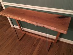 Live Edge Cherry Console Table sofa entry live edge natural cherry minimalist modern contemporary neutral hand rubbed industrial table