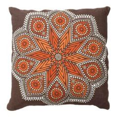 """Bring a chic pop of style to your living room, foyer, or den with this eye-catching accent, hand-picked by author and interior designer Stephanie Stokes.Product: Pillow  Construction Material: 100% Linen  Color: Brown, orange and whiteFeatures: Insert included    Dimensions: 18"""" H x 18"""" W   Cleaning and Care: Dry clean only"""