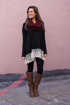 Layered Tunic!! Lace hem + Black top = perfection!!