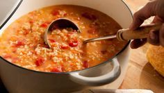 Creamy Tomato and Rice Soup - Amy Thielen shares her Grandma Addie's recipe for you to make for your family!  Tomatoes, fresh vegetables, chicken stock along with savory jasmine rice in a creamy base. Add a dash of cayenne pepper for a little added kick.  This soup screams comfort and warmth and can easily be made for a weeknight meal.